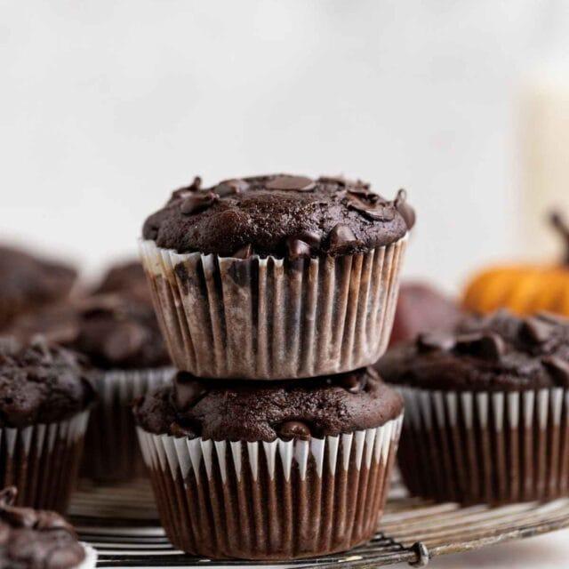 Chocolate Pumpkin Muffins on wire rack