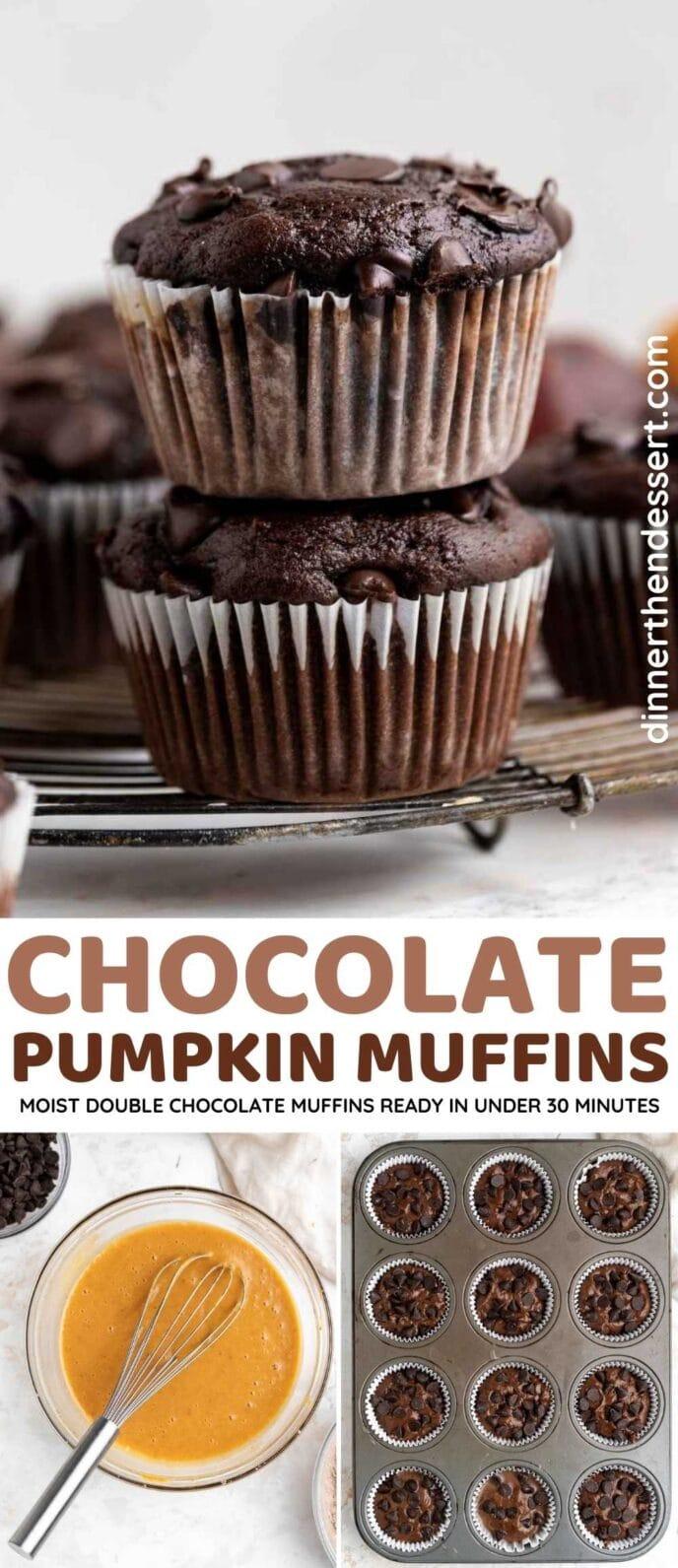 Chocolate Pumpkin Muffins Collage