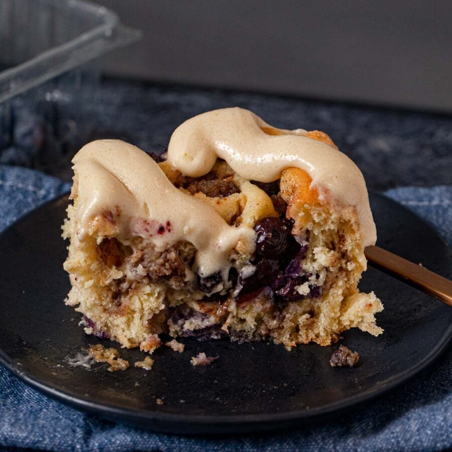 Sausage Blueberry Cinnamon Roll on plate