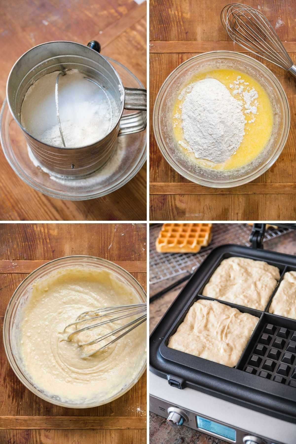 Prep Steps for Classic Waffles, ingredients in bowl, batter being stirred, batter in waffle iron.