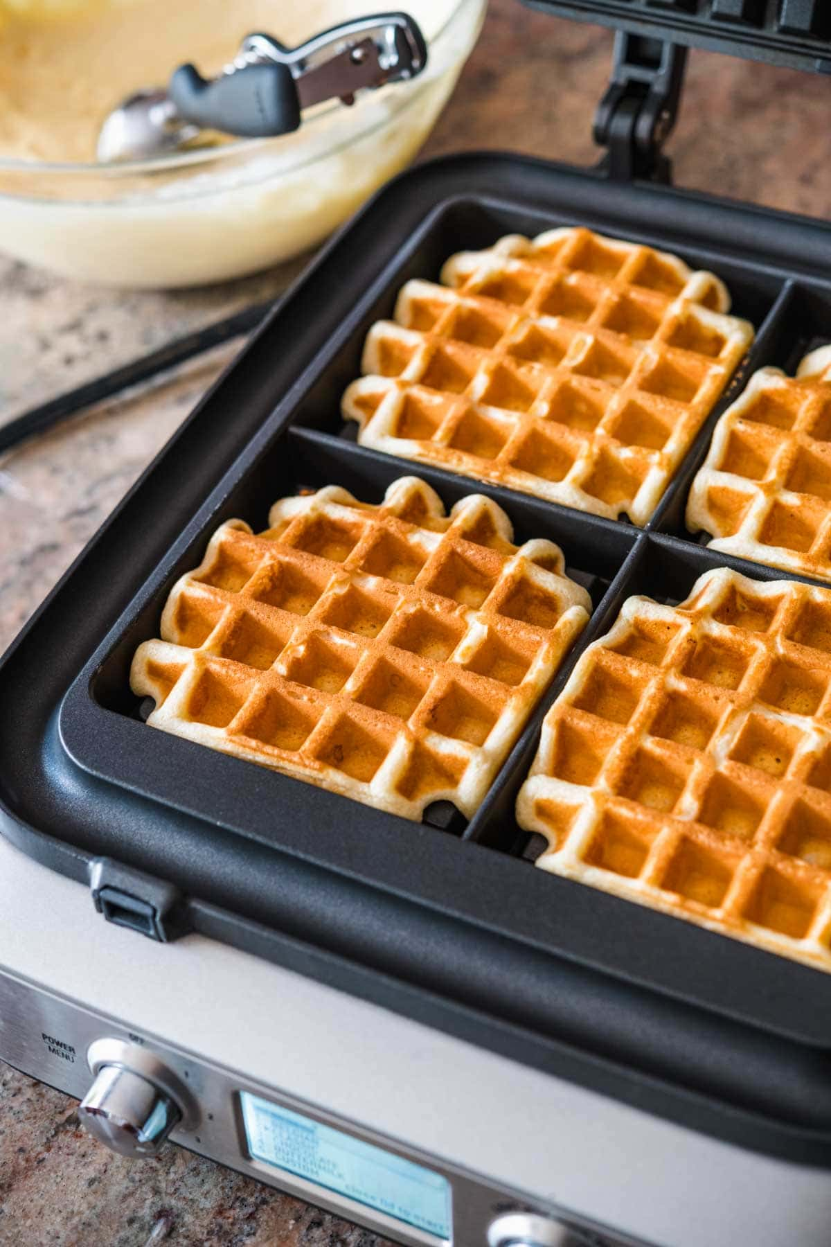 Cooked Classic Waffles in waffle iron
