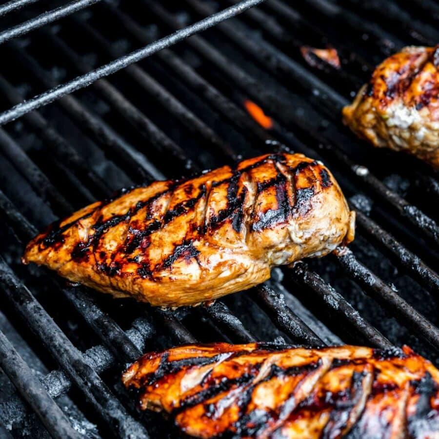 Grilled Chicken Marinade chicken on grill