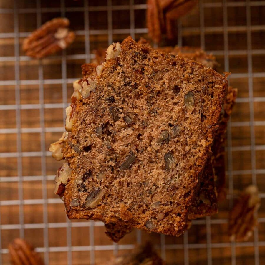 Top down slice of Honey Banana Bread