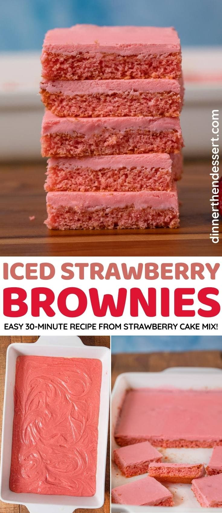 Iced Strawberry Brownies collage