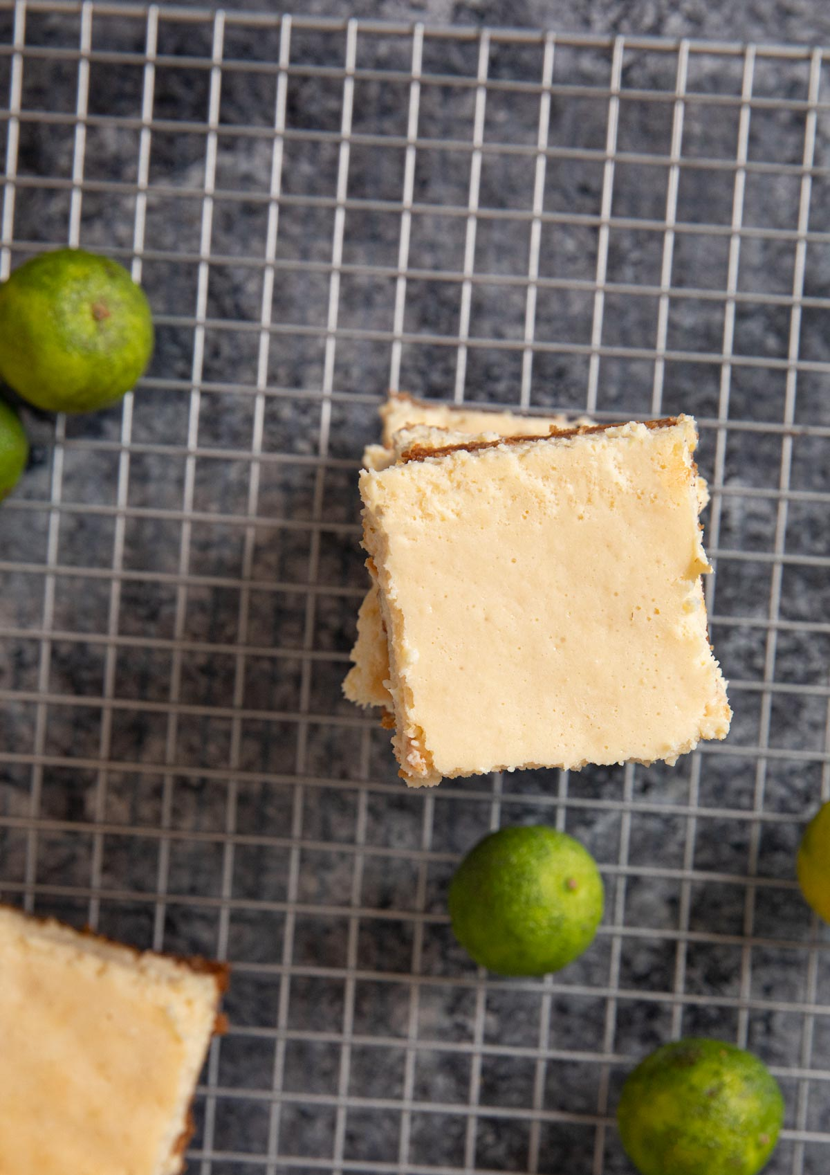 top-down view of Key Lime Cheesecake Bars in stack