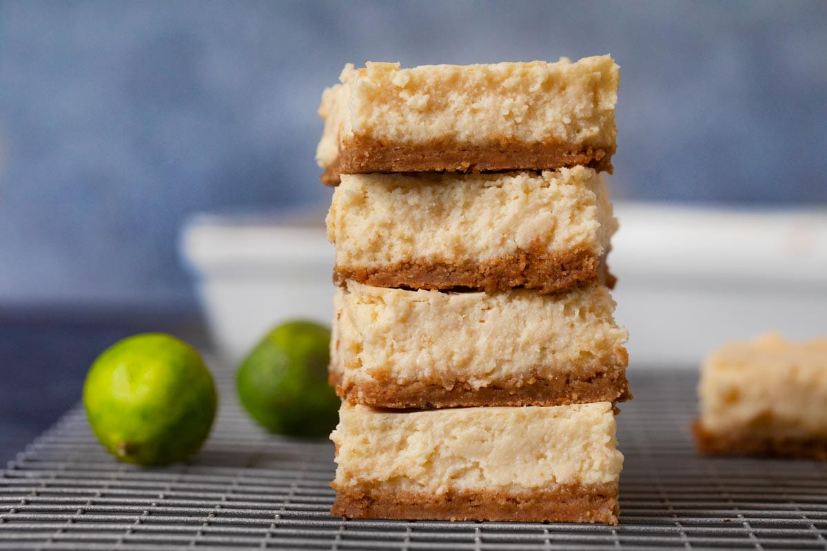 Key Lime Cheesecake Bars in stack