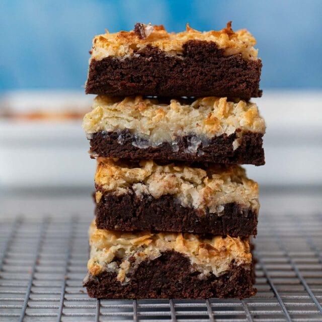 Stack of Coconut Macaroon Brownies