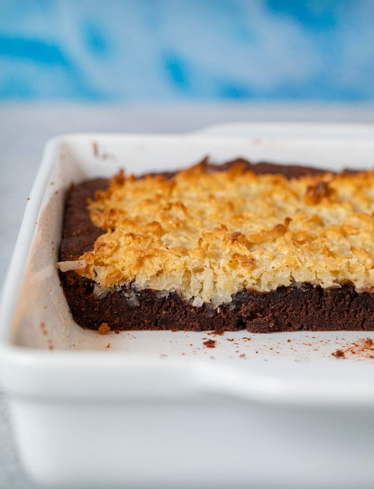 side photo of Coconut Macaroon Brownies in a baking dish