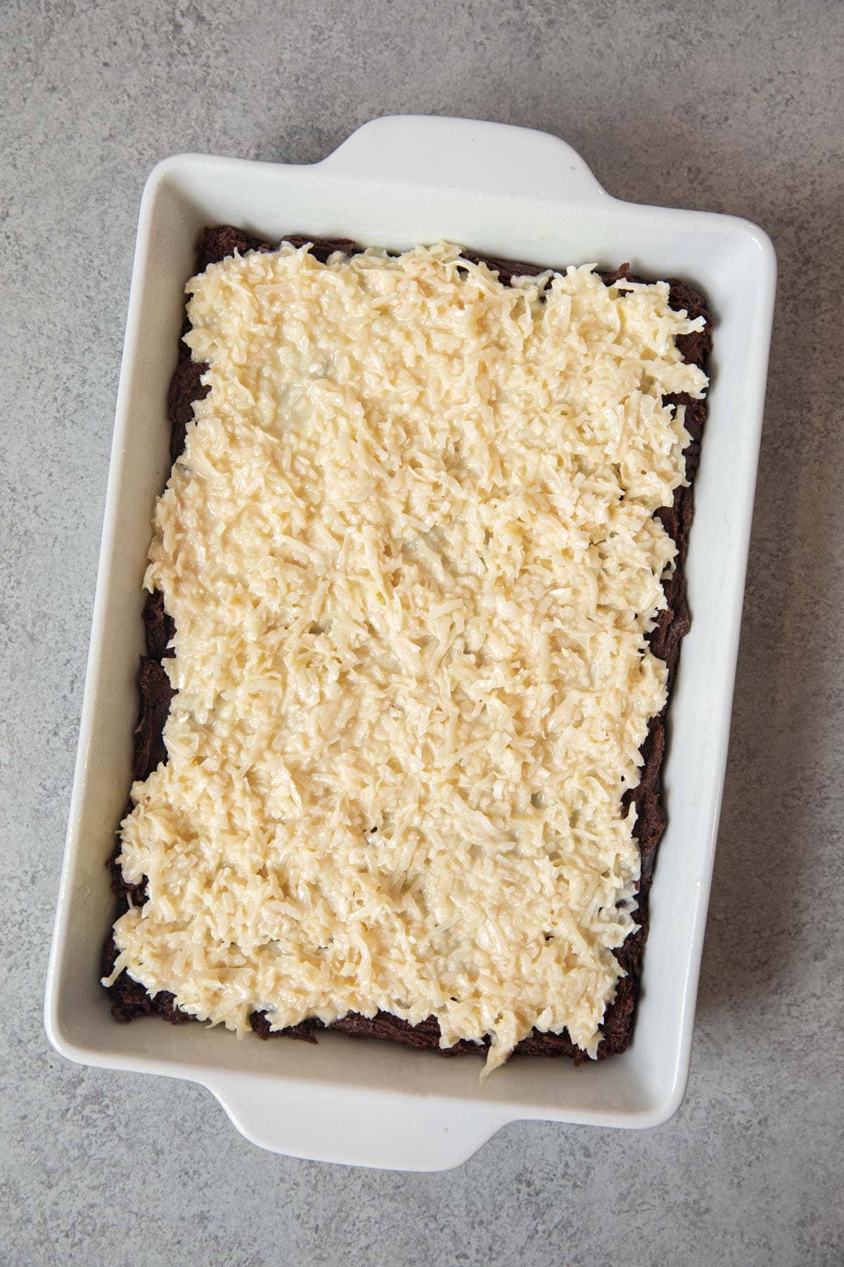 unbaked Coconut Macaroon Brownies