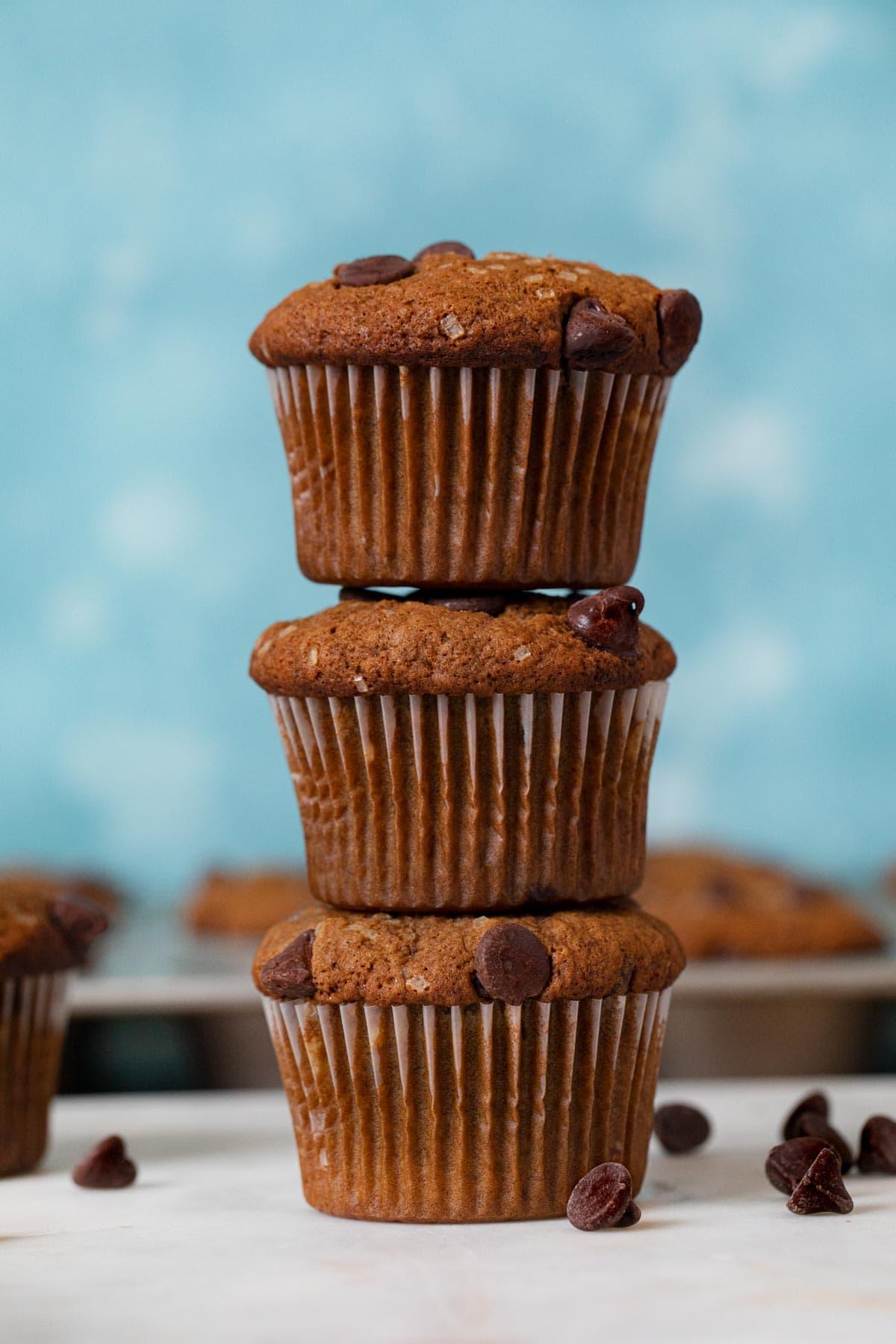 Mocha Chocolate Chip Banana Muffins in stack