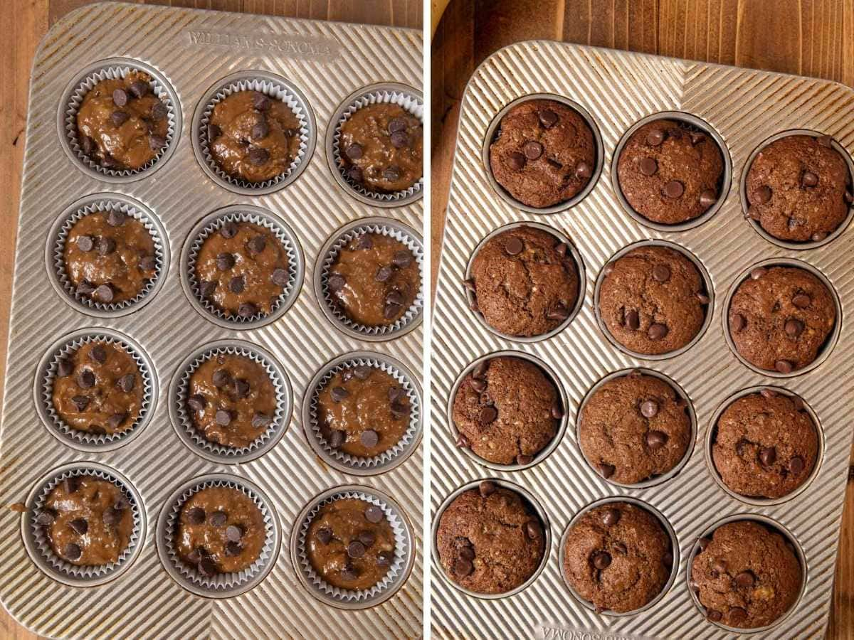 Mocha Chocolate Chip Banana Muffins in muffin tin before and after baking