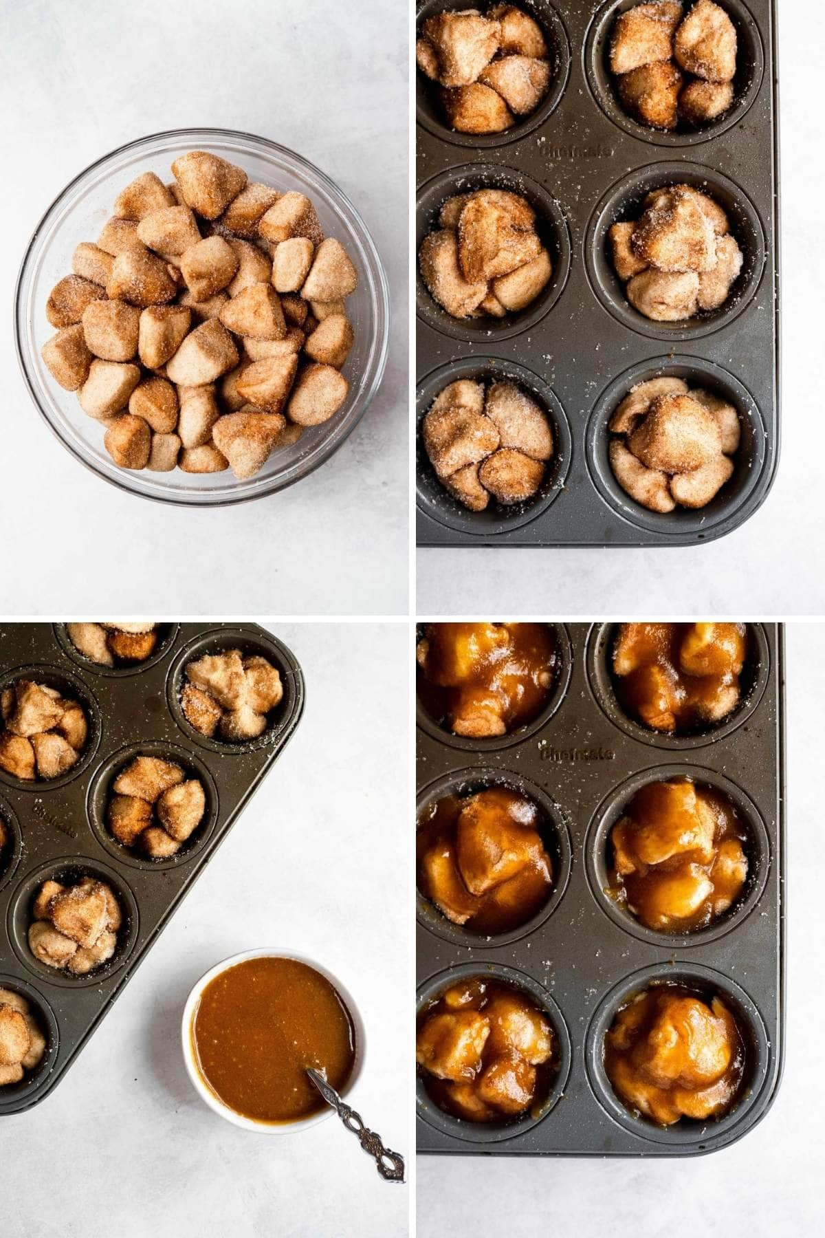 Prep steps for Monkey Bread Muffins