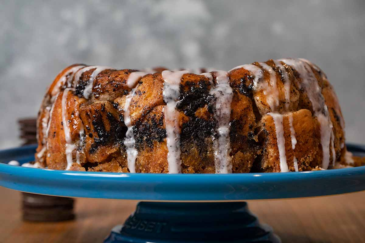 Oreo Monkey Bread on cake stand