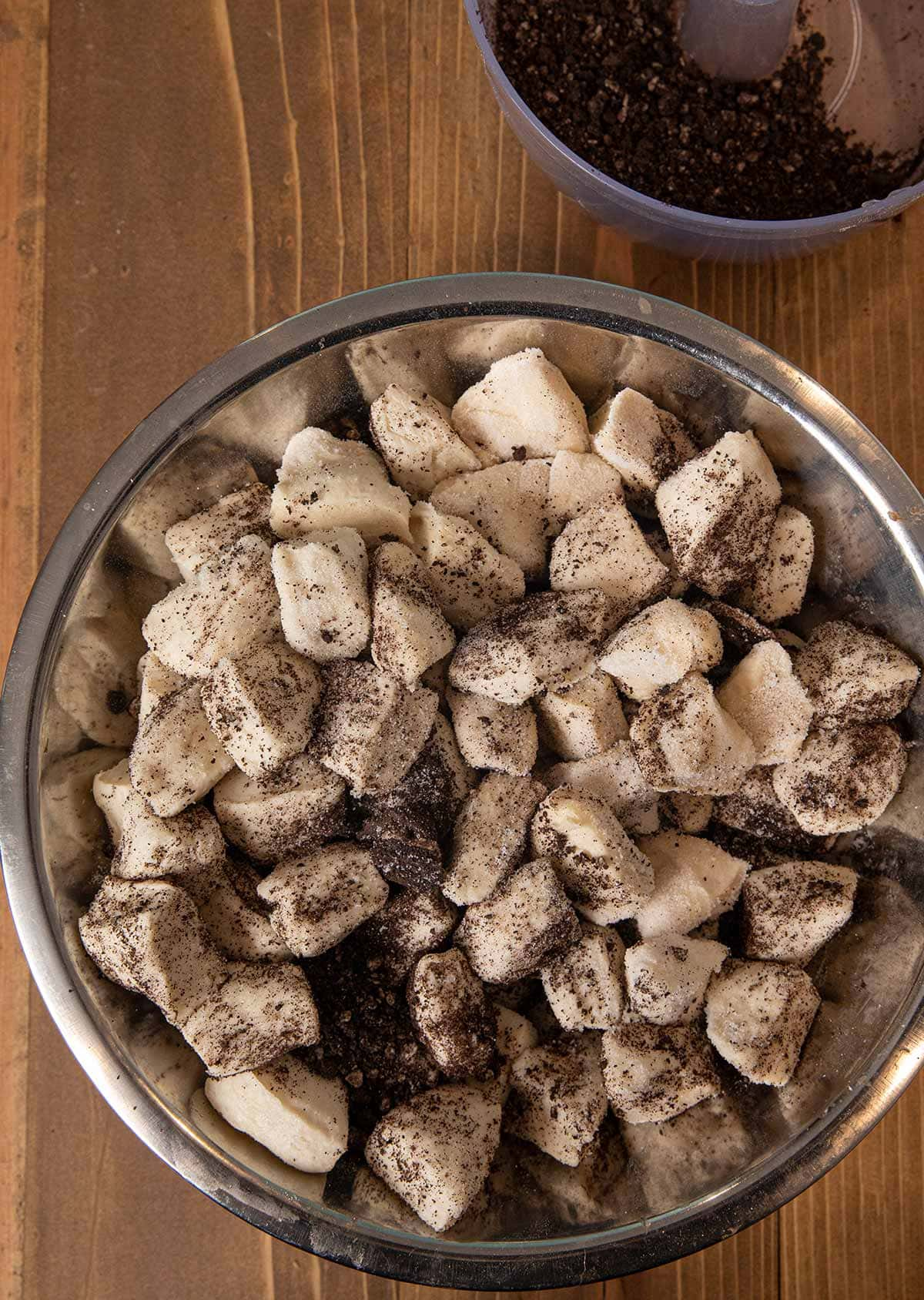 Oreo Monkey Bread dough in mixing bowl