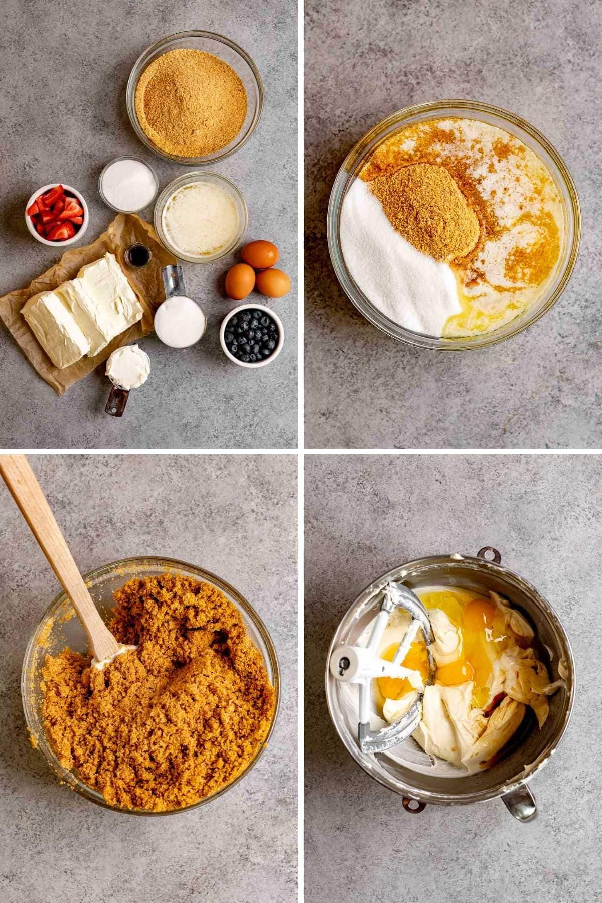 Collage of prep steps for Red White and Blue Cheesecake Bars