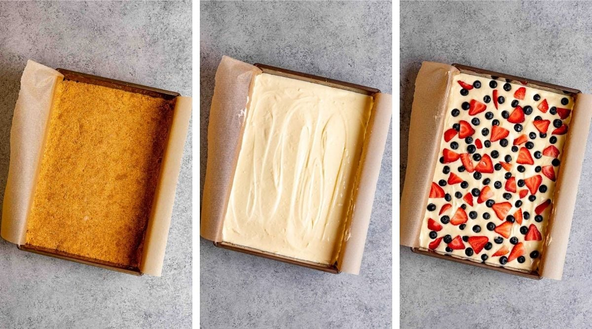 Collage of assembly steps for Red White and Blue Cheesecake Bars