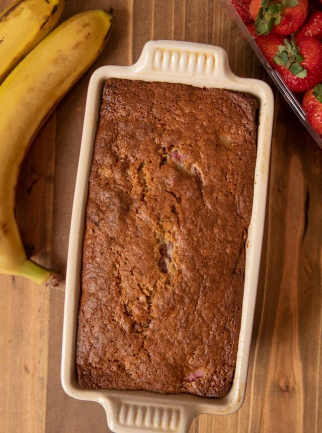 Strawberry Banana Bread in baking pan