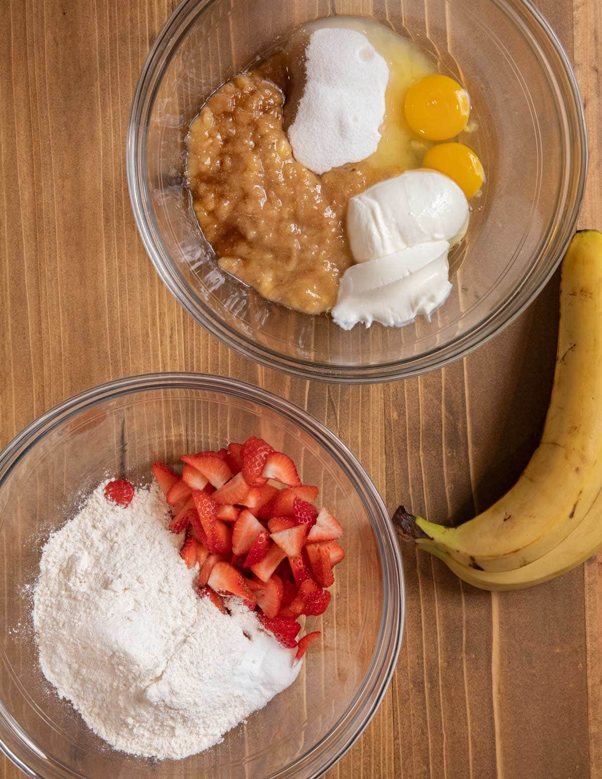 Strawberry Banana Bread ingredients in glass bowls