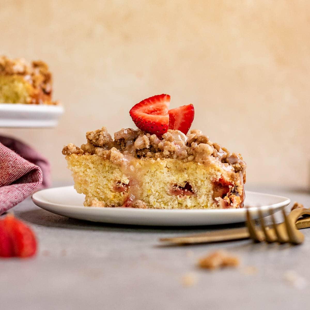 Strawberry Coffee Cake slice on plate