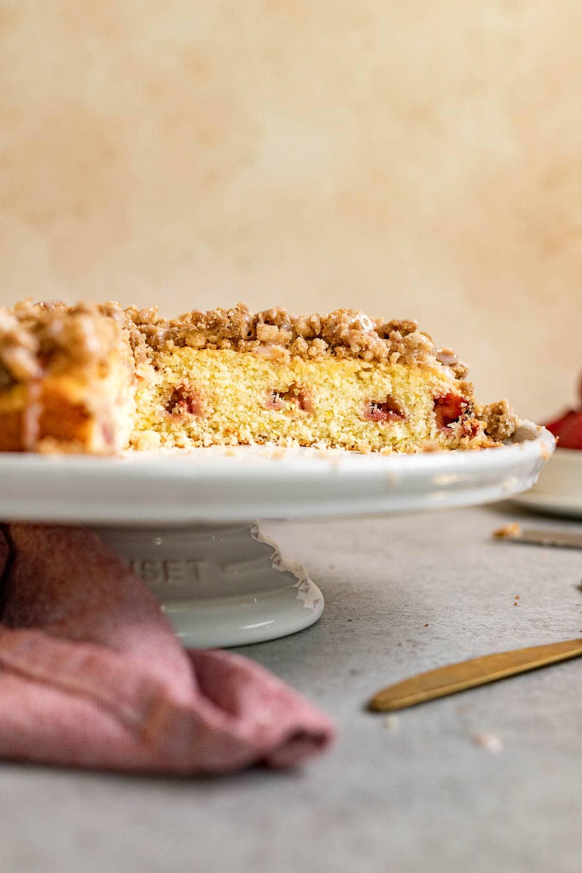 Strawberry Coffee Cake on cake stand