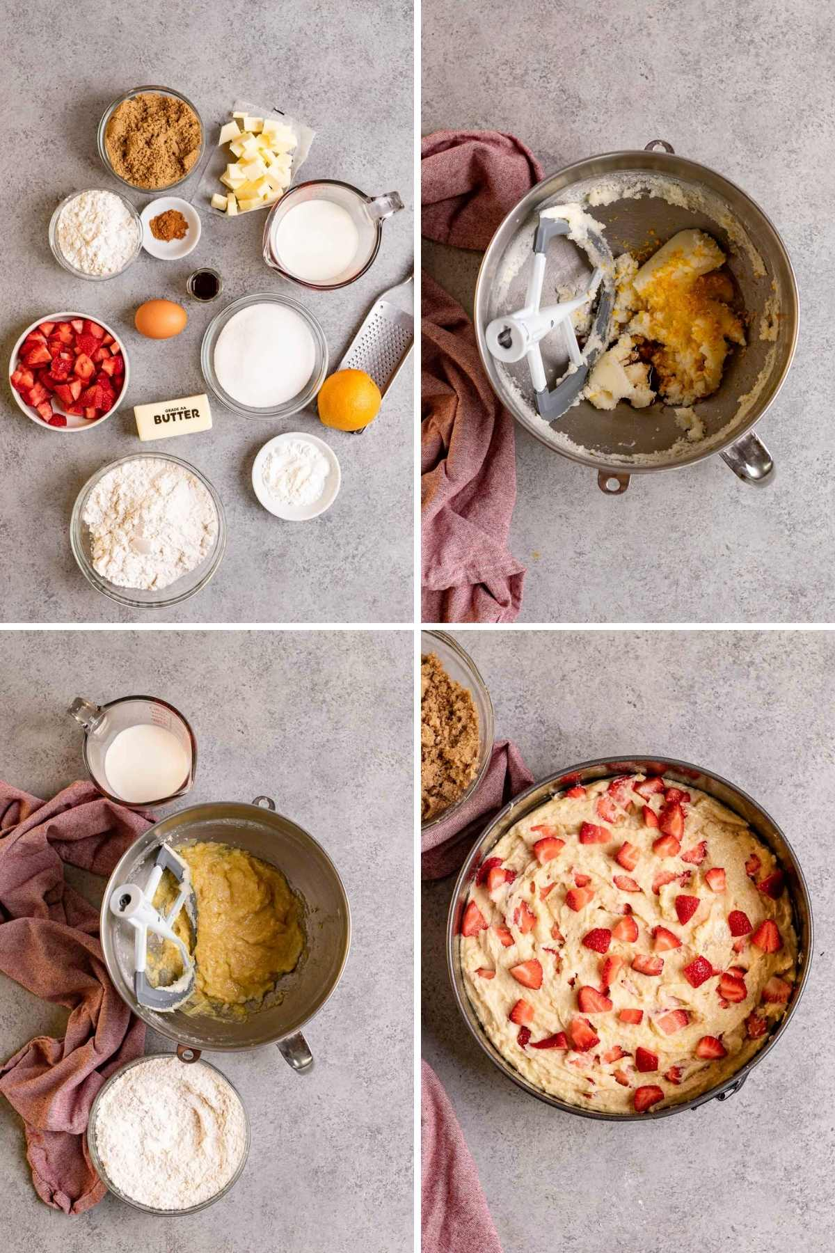 Collage of prep steps for Strawberry Coffee Cake