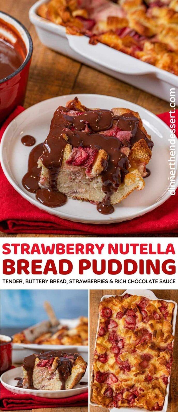 Strawberry Nutella Bread Pudding collage