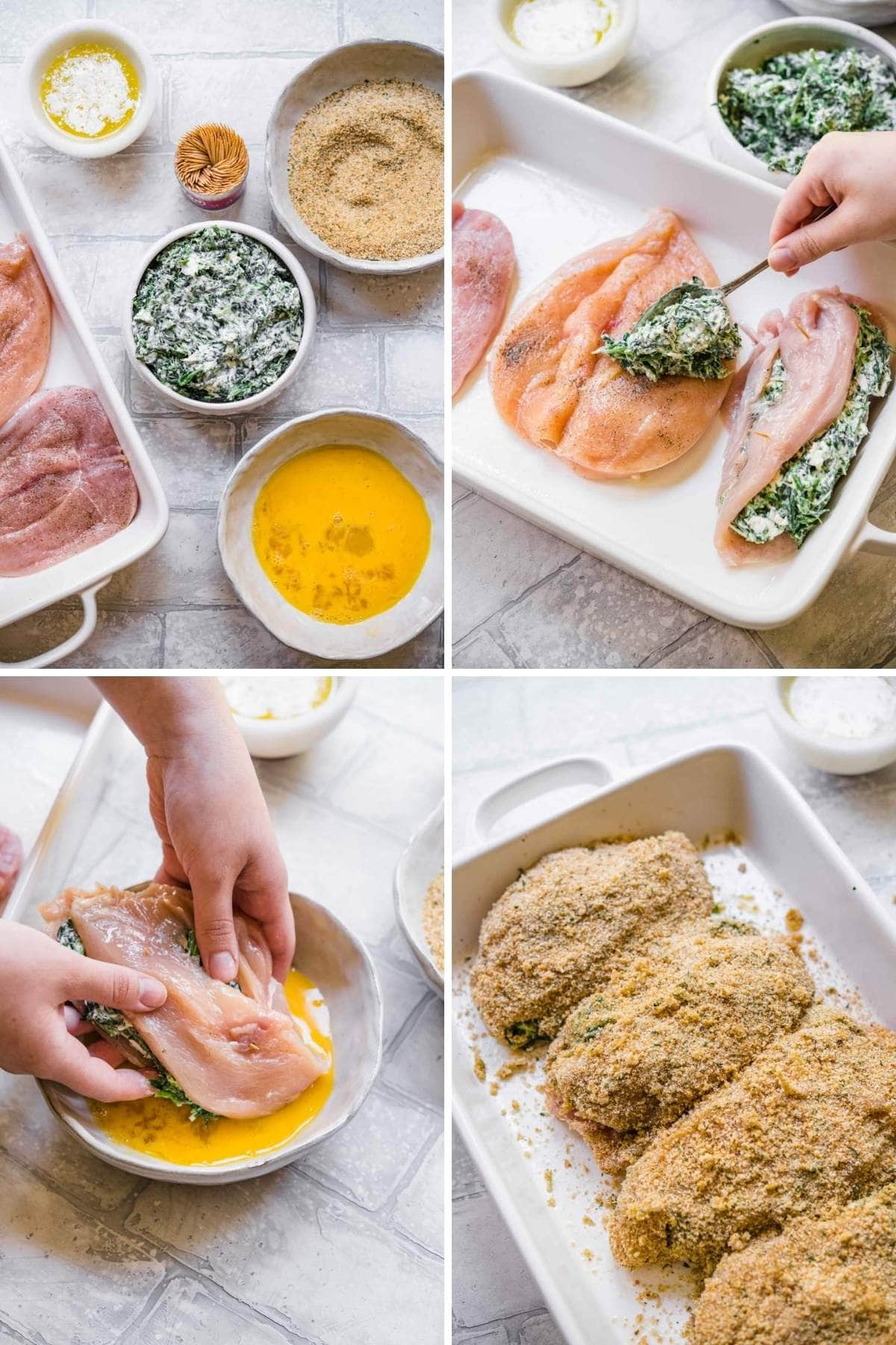 Collage of assembly steps for Stuffed Chicken Breast