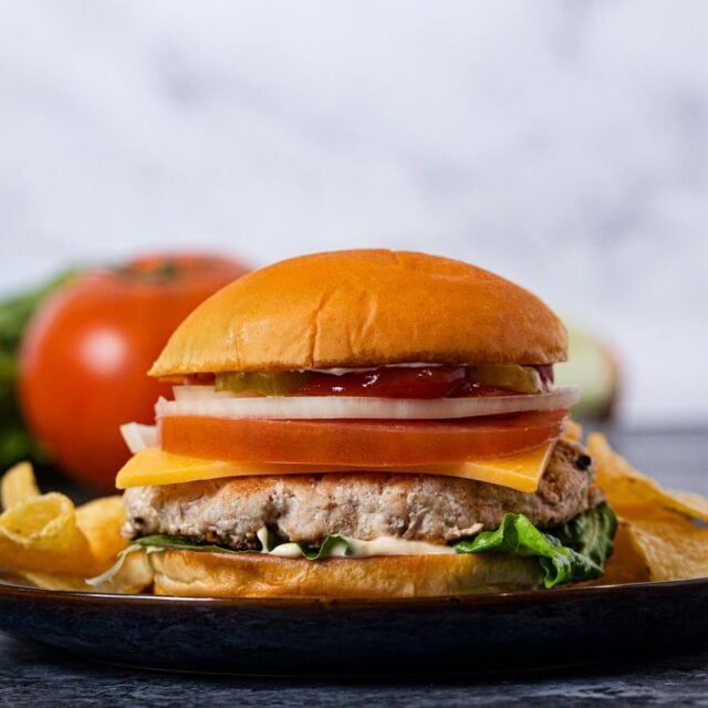 Turkey Burger on plate with chips