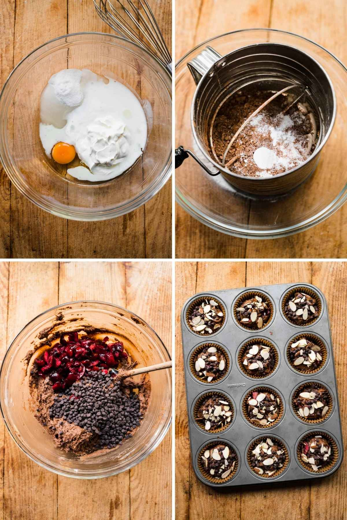 Almond Cherry Chocolate Muffins collage of prep steps