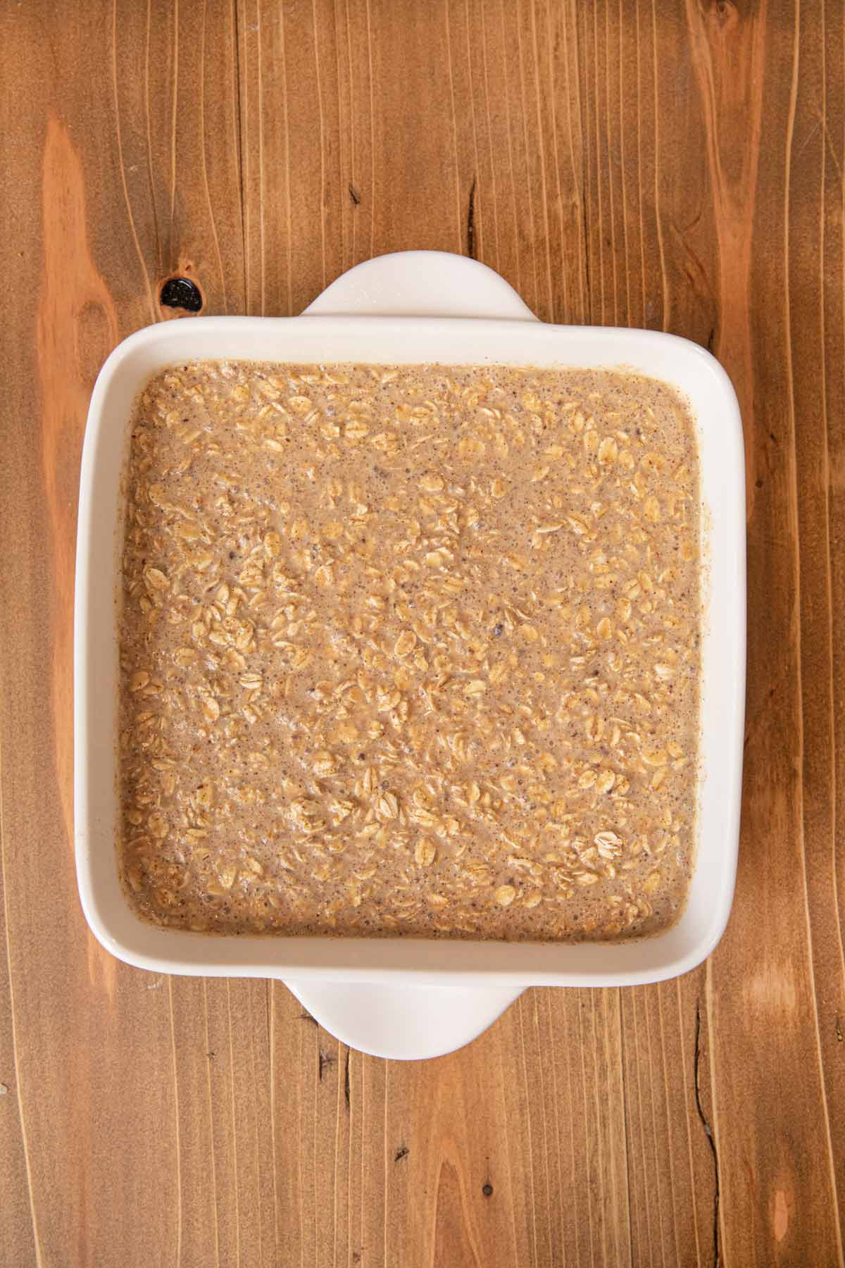 Baked Oatmeal in baking dish, uncooked