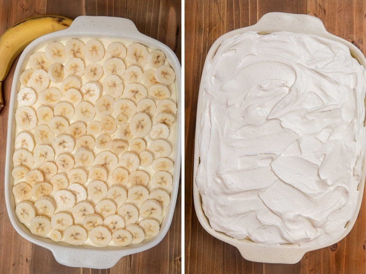 Banana Pudding prep layers in baking dish collage
