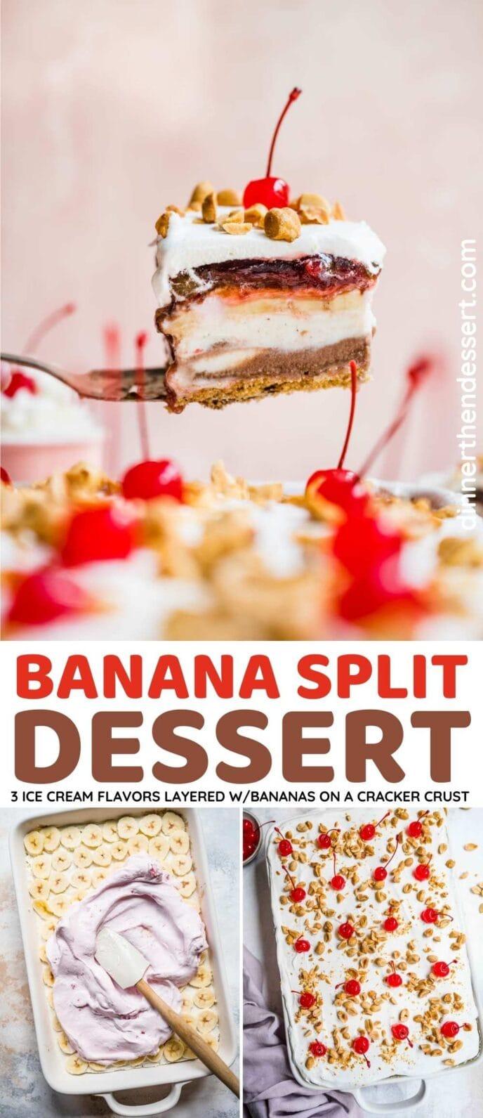 No-Bake Banana Split Dessert Collage