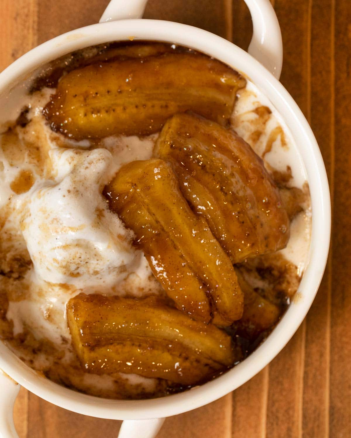 Bananas Foster in bowl with ice cream