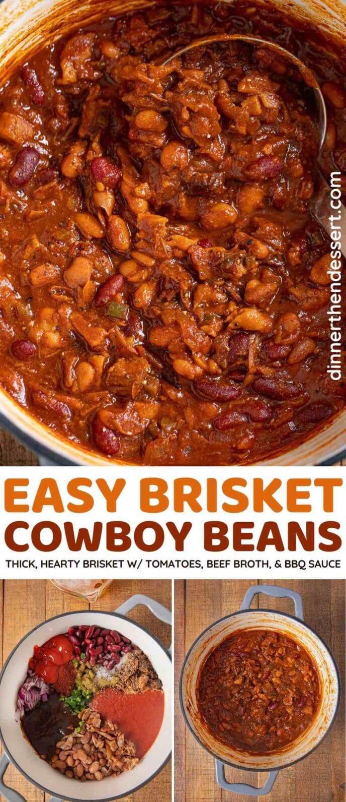 Brisket Cowboy Beans collage