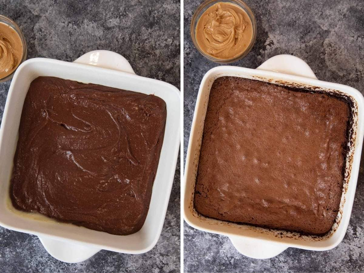 Buckeye Brownies brownie layer before and after baking