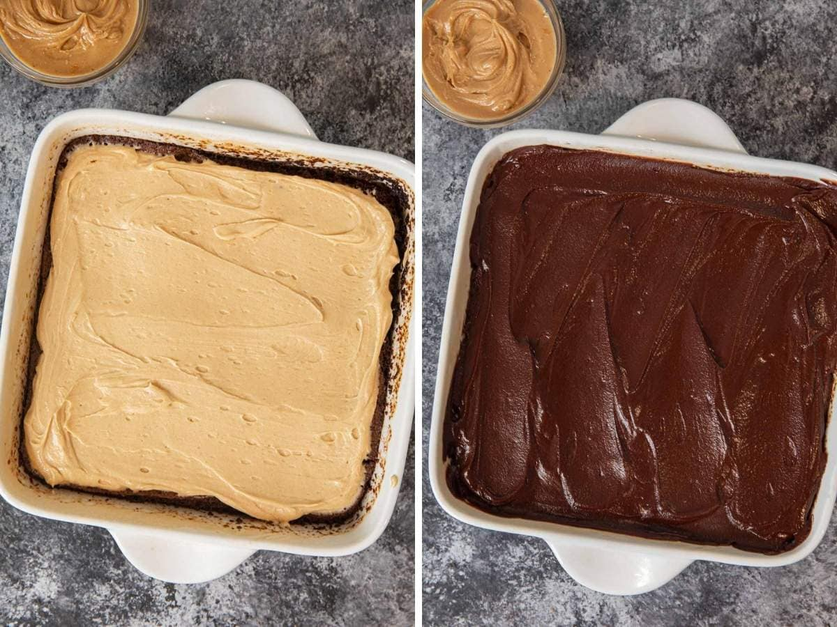 Buckeye Brownies collage of peanut butter layer and chocolate ganache layer