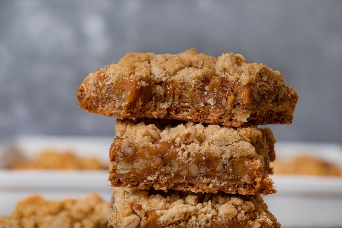 Caramel Nut Crumb Bars in stack