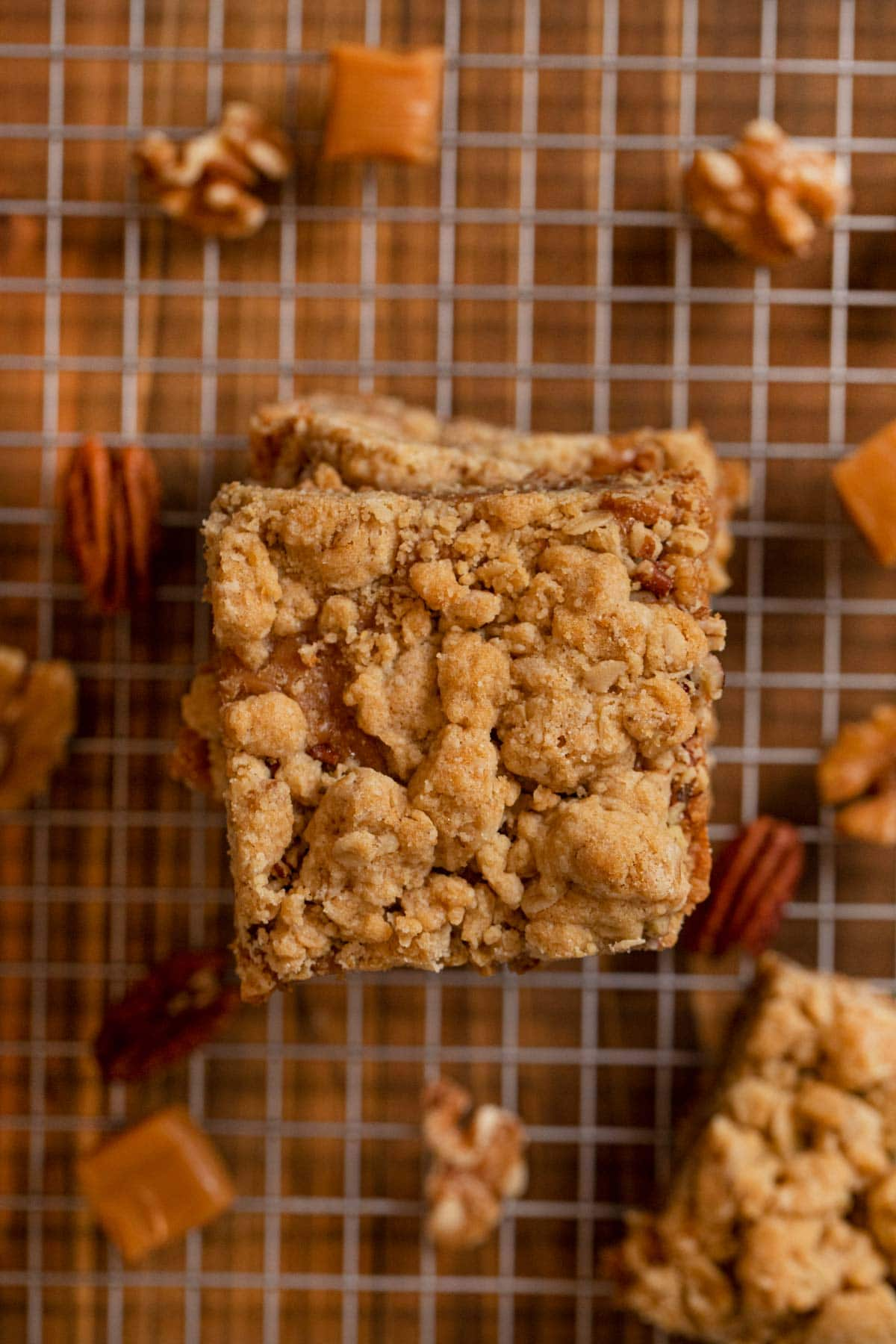 top-down view of Caramel Nut Crumb Bars in stack