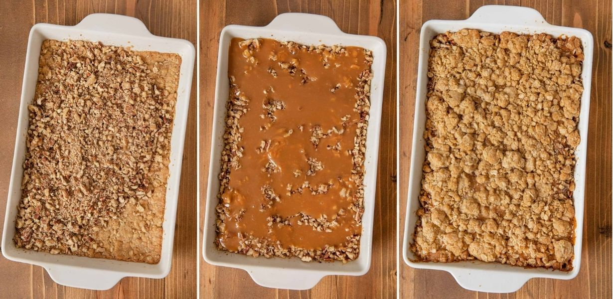 Caramel Nut Crumb Bars collage of prep steps in baking dish
