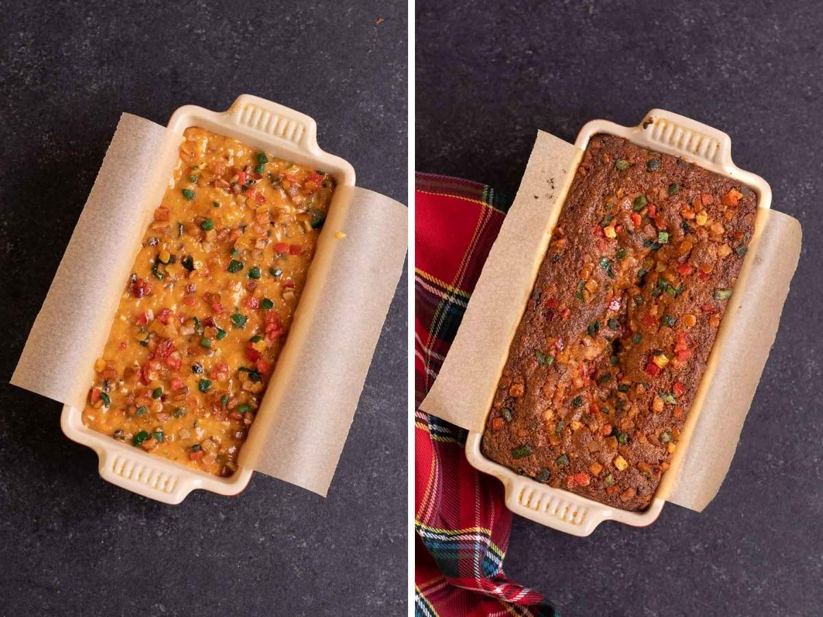 Carrot Fruitcake before and after baking