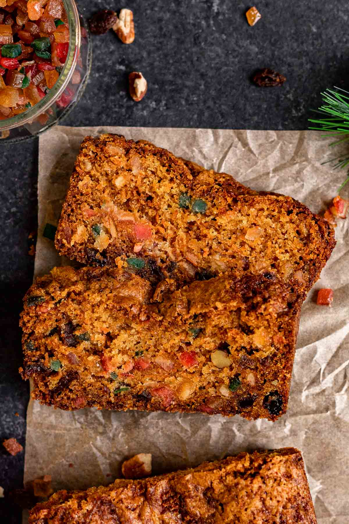 Carrot Fruitcake sliced on parchment