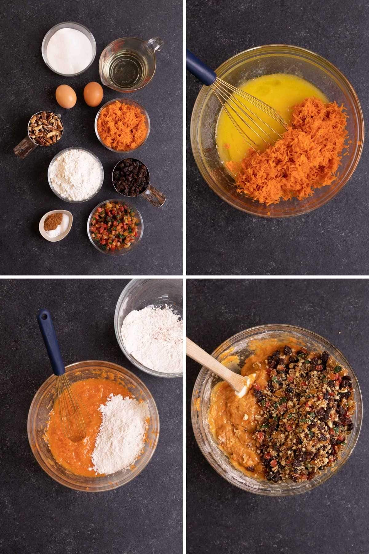 Carrot Fruitcake collage of prep steps