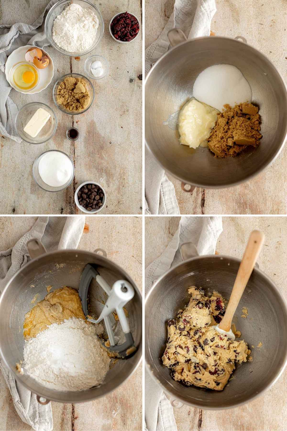 Cherry Chocolate Chunk Cookies collage of dough prep steps
