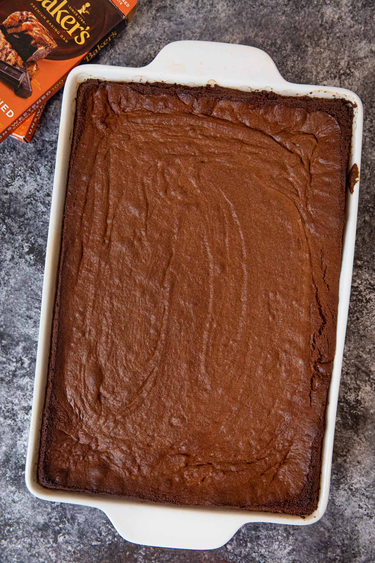Chewy Brownies in baking dish