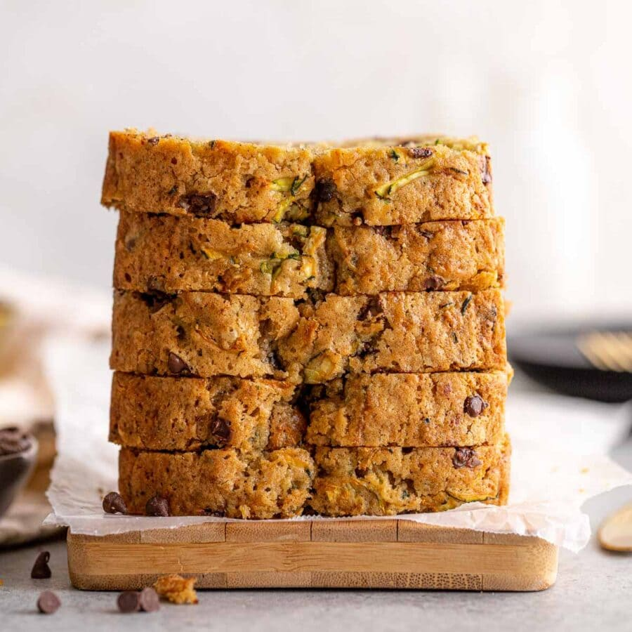 Chocolate Chip Zucchini Bread slices in stack