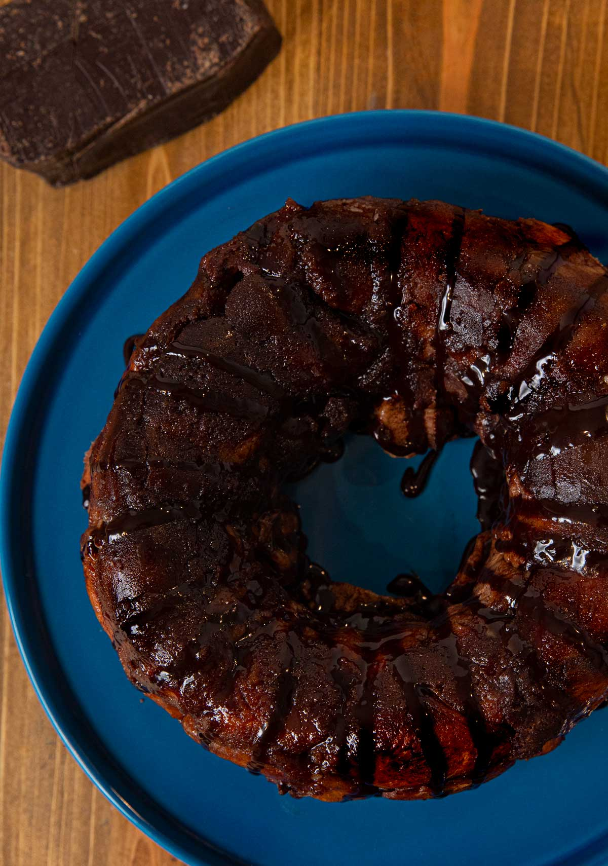 top-down view of Chocolate Monkey Bread on cake stand