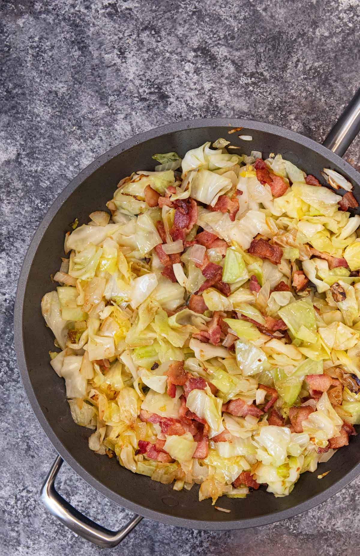 Colcannon Irish Potatoes cabbage and bacon in pan