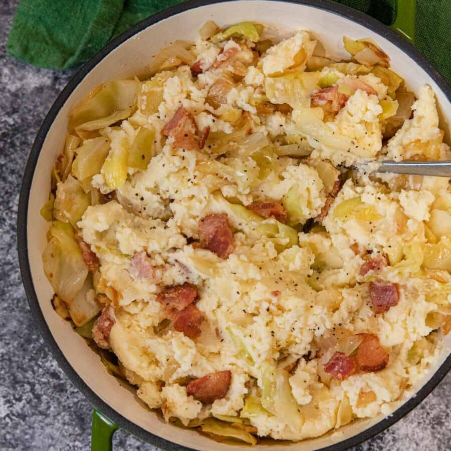 Colcannon Irish Potatoes in pot