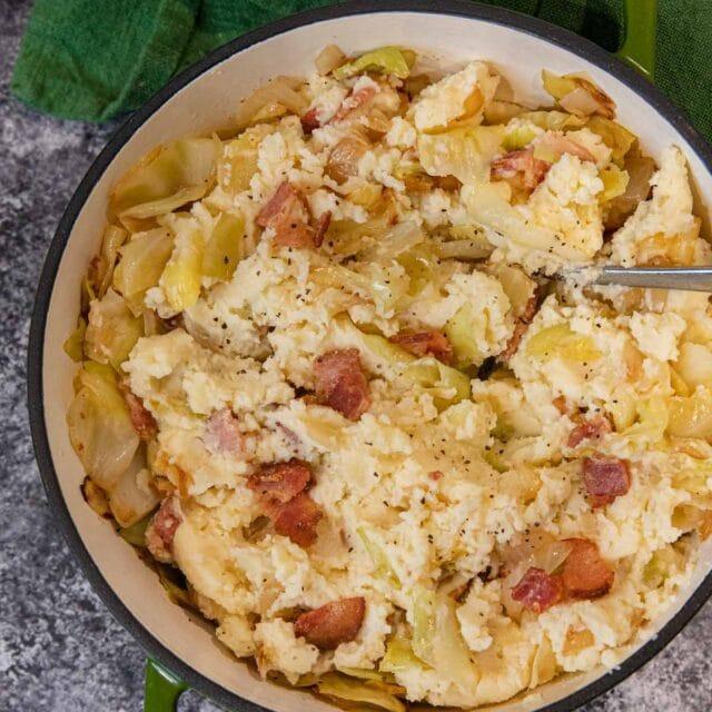 Colcannon Irish Potatoes in pot