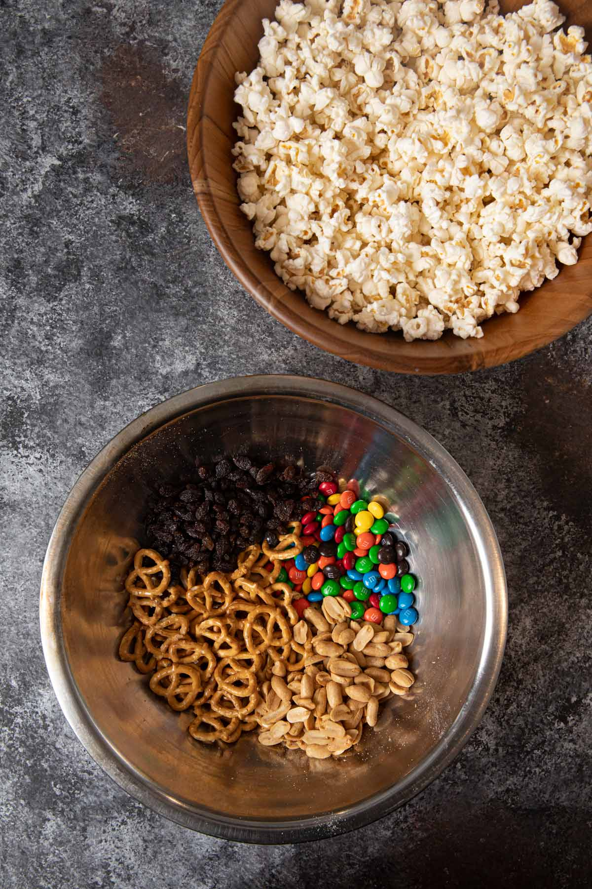 Concession Stand Popcorn Mix ingredients in bowls